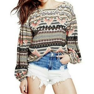 Guess Isadora Mirrored Tribal Print Popover Top